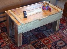 Reclaimed Pallet Wood Coffee Table With Storage ... Noah