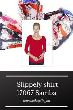 Dit Samba viscose Slippely shirt heeft driekwart mouwen, een brede, hogere halslijn, een afgeronde onderkant en is recht vallend van model. Het rode Slippely shirt is gemaakt van 93% viscose en 7% elastan. Viscose draagt net zo prettig als katoen terwijl de stof zachter en soepeler is en zijdeachtig aanvoelt.  #shirt #slippely #slippelyshirt #onlineslippelyshirt #slippelyshirtonline #slippelyshirtwebshop #mbstyling Samba, Movies, Shirts, Films, Cinema, Movie, Film, Dress Shirts, Movie Quotes