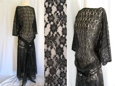 Vintage 1920s Black Chantilly Lace Dress with by jwvintagecloset, $360.00