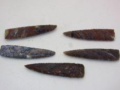 5 Stone knife blades.......05c72..... Ornamental replica primitive tool.....