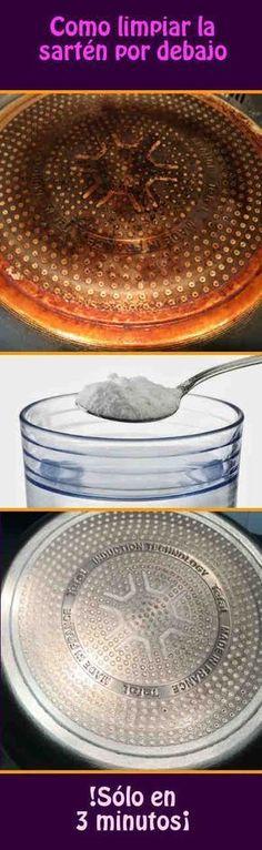 ¿Sabes este truco muy eficaz para limpiar la sartén por debajo sólo en 3 minutos? #limpiar #sarten #tips