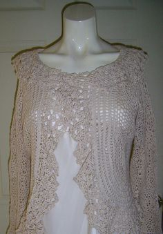 Irish Crocheted lace Collared Cardigan by PinkPicot on Etsy, £80.00 #pcfteam