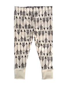 Little Cocoa Bean-Charcoal Arrows in White Organic Cotton Leggings