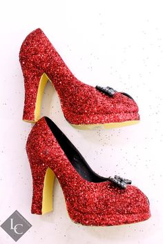 Custom Decorated Dorothy Red Ruby Slippers Wizard of Oz Inspired RedGlitter Heels with Black Bows and Yellow Soles SZ 7 via Etsy