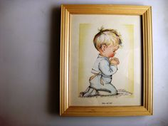 Bless Us All Little Button-Bottomed Praying Boy Hope Picture Frame Company 1960 Litho Treasure - pinned by pin4etsy.com