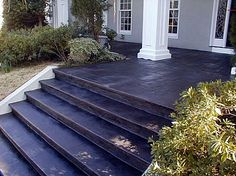 Front Stairs Cement painted concrete porch floor white house dark Source: website family tree update exterior concrete steps Source: w. Stained Concrete Porch, Painted Concrete Steps, Concrete Front Steps, Front Porch Steps, Front Stairs, Front Porch Design, Concrete Stairs, Concrete Patio, Stamped Concrete