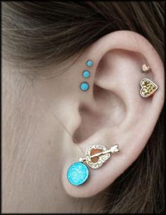 Cute Multiple Ear Piercing Ideas - Triple Forward Helix Earring Studs - Double Cartilage Upper Ear Lobe - www.MyBodiArt.com