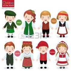 Los ni os en traje tradicional Irlanda Finlandia Estonia y Dinamarca Foto de archivo