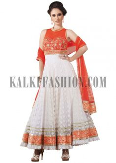 Off white and orange anarkali suit with zari and thread work