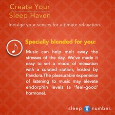 Set a relaxing mood with music before going to bed. #SleepNumber #SleepTip