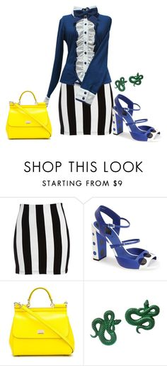 """""""Untitled #3206"""" by roseunspindle ❤ liked on Polyvore featuring Bardot, Fendi, Dolce&Gabbana, Monki, yellow, Blue, blackandwhite, stripe and angelicpretty"""
