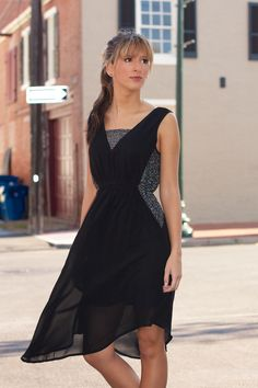 Sleeveless Dress With Contrast Sequin Lace #May23Online $46.00 #yalosangeles #sequin