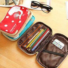 Cute Women Girl Large Pencil Pen Case Pouch Pocket Zipper Makeup Bag Purse Gifts