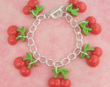 Cherry Tiki Charm Bracelet - Vintage Inspired - Rockabilly Pinup Jewellery - Retro 50s Kitsch Bracelet - Fruit Jewellery