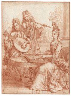 Symphonie du tympanon, du luth et de la flûte d'Allemagne. Sanguine et lavis de sanguine, repassé au stylet, 230 x 170 mm. BNF, Estampes, Réserve B 6 e, boîte