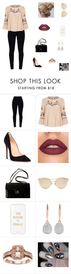"""Untitled"" by sass-queen-159 ❤ liked on Polyvore featuring River Island, Christian Louboutin, Chanel, Christian Dior, Sonix and Monica Vinader"