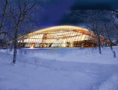 Swedish Sami parliament building, inspired by the Lavvu (a round tent covered in reindeer skins). in Kiruna, Sweden by Murman Arkiteckterab. 2010