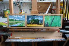 Draaibaar drieluik Westerwolde (achterkant) 10 x 15 olie op paneel