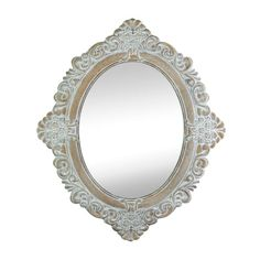 PRODUCT DESCRIPTION: Elegant carving and stately style, this vintage-looking wall mirror looks like a timeworn treasure. Weathered ivory and taupe bring out the best elements of the ornate frame, maki