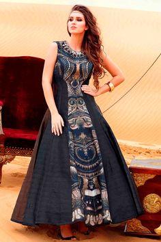 #Black gorgeous #raw silk #anarkali kameez with Bead work-SL6207