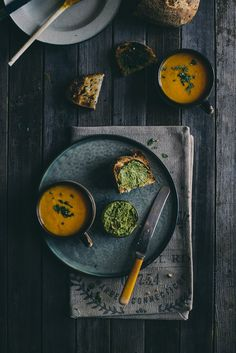 carrot and orange soup with coriander and chili buttered toast