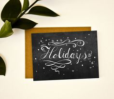 Wish your friends and family a wonderful holiday season with this chalkboard style card. $4.50 by Emily Cromwell