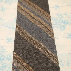 Men's Vintage Striped Blue Grey Tan Wool Tie by tianamckinley, $9.99