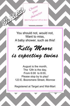 Chevrons Baby Shower Invitations ANY COLOR SCHEME.  Choose your clipart or upload your own picture.  Get these invitations RIGHT NOW. Design yourself online, download and print IMMEDIATELY! Or choose my printing services. No software download is required. Free to try!