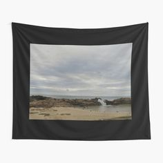 """Tapestry """"Small sea pool protected by rocks on cloudy morning"""" Textile Prints, Wall Tapestry, Vivid Colors, Rocks, Iron, Sea, Explore, Artist, Collection"""