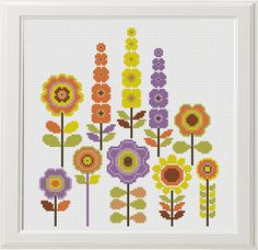 3 Floral Cross Stitch Flower Cross Stitch Pattern Modern