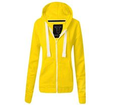 KOLLACHE Womens Hoodie Hood Plain Jumper Ladies Yellow Fleece Casual Zip Top Upper Sweater Sweatshirt Jacket  Design: Plain andlt