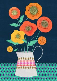 Folk Art Flowers, Abstract Flowers, Flower Art, Illustration Blume, Pattern Illustration, Art Floral, Floral Illustrations, Botanical Art, Gouache