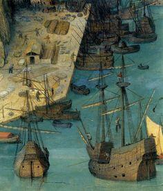 1563 Pieter Bruegel the Elder – The Tower of Babel, Detail ships in the port  via