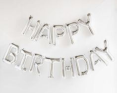 Inexpensive Foil Curtain Mylar Happy Birthday Balloons Blown Up