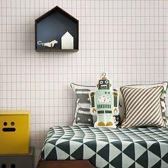 Ferm Living Behang 'Grid' zwart/wit papier 10.05x0.53cm
