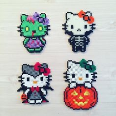 Halloween Hello Kitty hama perler beads by kittybeads and like OMG! get some yourself some pawtastic adorable cat apparel! Perler Bead Designs, Diy Perler Beads, Perler Bead Art, Pearler Beads, Fuse Beads, Hello Kitty Halloween, Pearler Bead Patterns, Perler Patterns, Hama Beads Halloween
