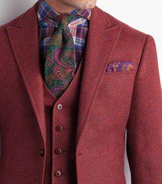Paul Stuart / Shetland Wool Phillip Sport Jacket / Soufflet à l'arrière / Tissu / Cravate / Chemise / Pochette / Motifs / Couleurs