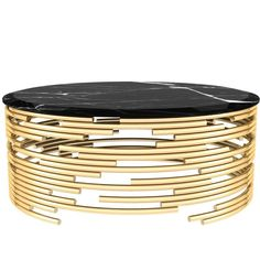 European Modern Brass and Black Marble Round Center Table 1
