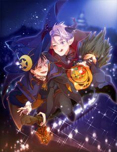 Yuuri and Victor - Yuri! on Ice by いなり on pixiv Anime Halloween, Happy Halloween, Japanese Figure Skater, Yuuri Katsuki, Ice Art, Anime Version, Halloween Backgrounds, Wattpad, Anime Life