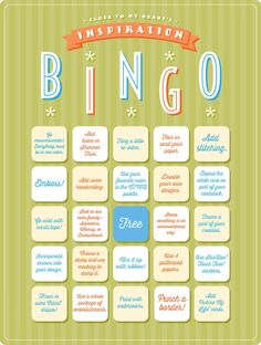 Close To My Heart's Inspiration Bingo! Use this board to get your artistic gears turning.