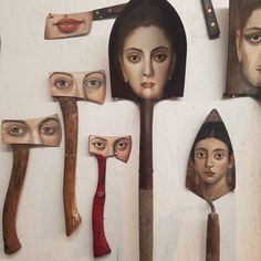 Surrealist Artist Paints Unique Portraits on Worn Paintbrushes and Other Found Objects