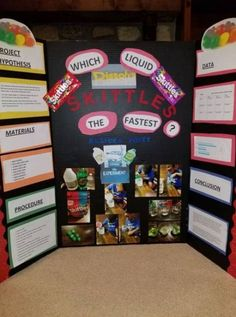 Our Grade Science Fair Project.Which Liquid Dissolve Skittles the Fastest Our Grade Science Fair Project.Which Liquid Dissolve Skittles the Fastest Stem Fair Projects, Science Project Board, Science Fair Board, Elementary Science Fair Projects, Science Fair Experiments, Science Fair Projects Boards, Science For Kids, Science Activities, Projects For Kids