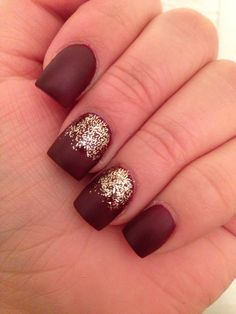 Matte burgundy deep red nails