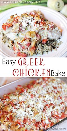 So easy to make + delicious and full of flavor! Only 6 ingredients in this easy weeknight dinner! Easy Greek Chicken Bake