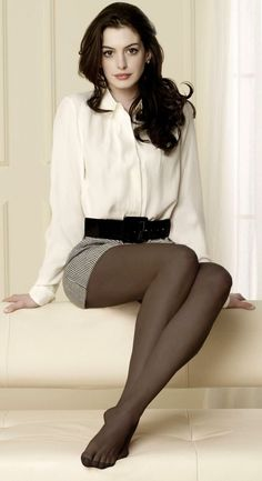 Short Houndstooth Skirt White Blouse Wide Black Belt and Smokey Opaque Tights