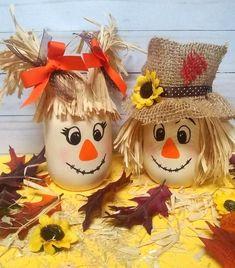 Scarecrow Mason Jar, Fall Decor, Fall Centerpiece, Scarecrow Decor, Fall Part. Thanksgiving Crafts, Fall Crafts, Holiday Crafts, Crafts For Kids, Couple Crafts, Kids Diy, Holiday Decorations, Decor Crafts, Diy Christmas