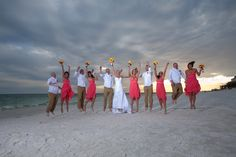 I love what the guys and gals are wearing for this beach wedding