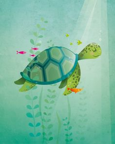 Nursery art print Sea turtle nursery print Kids illustration Kids room decor Childrens art Baby boy New baby gift Baby girl nursery.  This is a