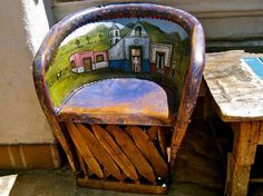 Painted Mexican Leather Chair at Fiesta de Reyes, Old Town San Diego.