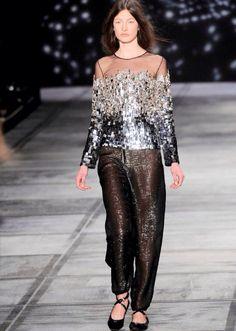 cef07027646a Jacquelyn Jablonski — Isaac Mizrahi F/W 2010. Designed by Kristen Naiman  Sequin Skirt